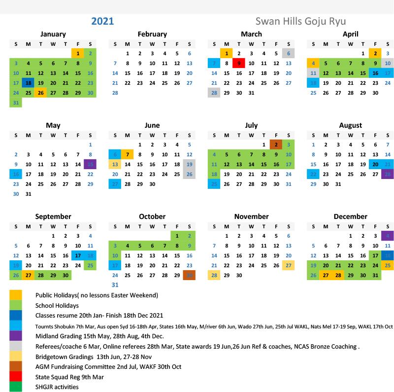 2021 SHGJR calendar